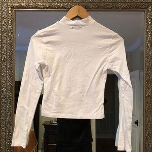 Cropped Turtleneck Long Sleeve Shirt